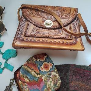 VINTAGE boho leather handtooled purse